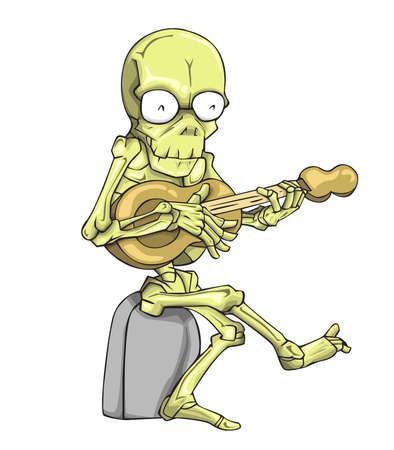Skeleton Character vector. Monster in Halloween night