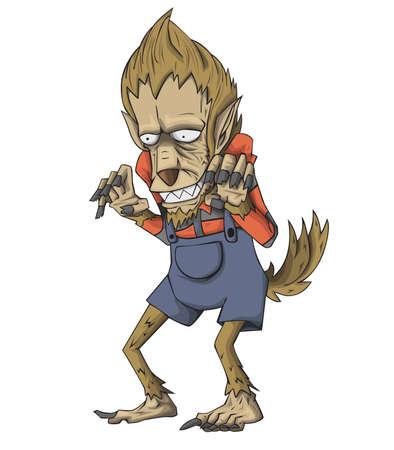 Werewolf Character vector. Monster in Halloween night Ilustração