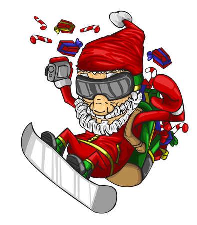 Santa claus on a skateboard with bag of gifts on his back. vector illustration Ilustração