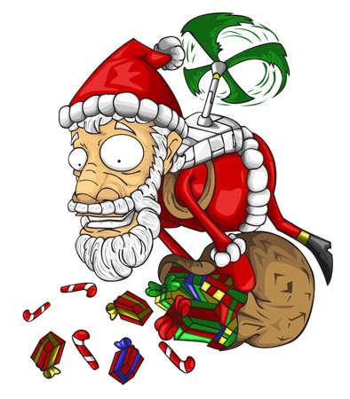 Santa claus holding bag of gifts isolated on white. vector illustration Ilustração