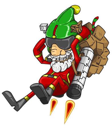 Santa Claus flying with a rocket and bag of gifts. vector illustration Ilustração