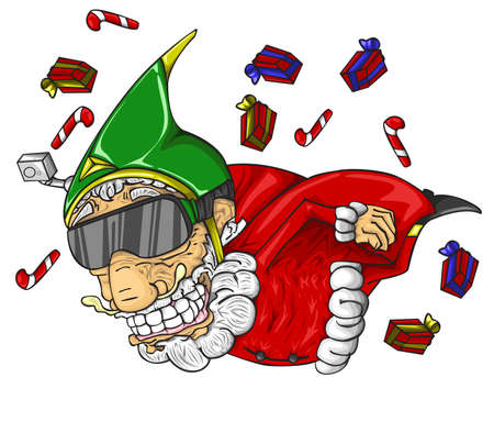Santa claus and gift boxes flying in the air. Ilustração