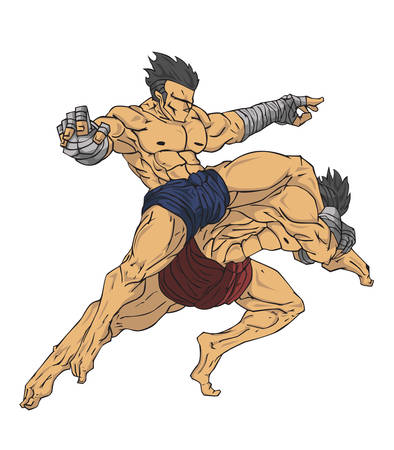 Muay thai or thai kickboxing. Martial art vector and illustration
