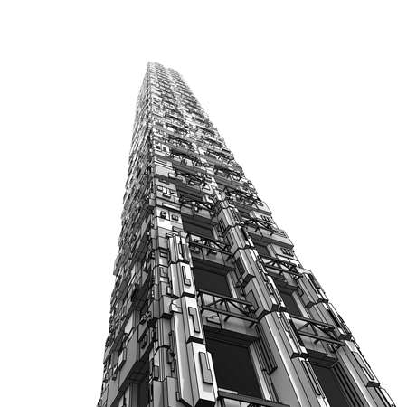 Futuristis Industry Skyscraper on White Background photo