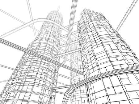 ink sketch: Skyscraper Industry futuristico e monorotaie su sfondo bianco. Linear inchiostrazione pittura.