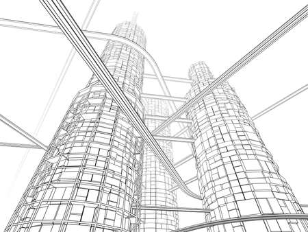 monorail: Futuristic Industry Skyscraper and Monorails on White Background. Linear inking painting.