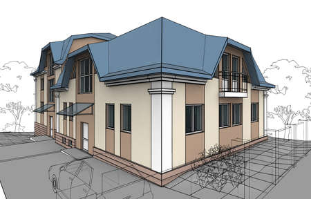 Illustration of Cottage on White Background. Decorative painting with linear inked outline. illustration