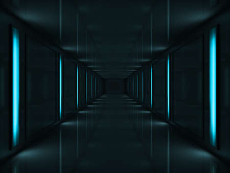 claustrophobic: 3d rendered dark corridor with blue lamps on walls Stock Photo