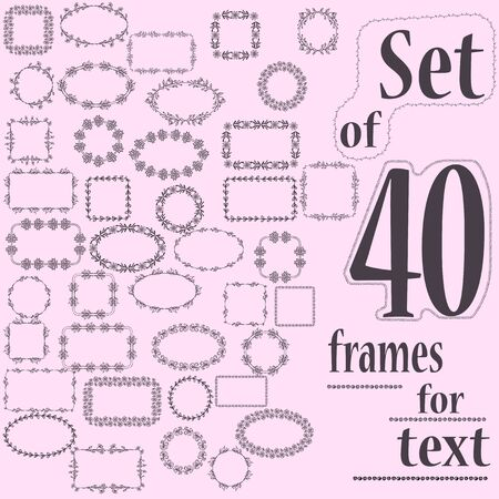 separators: Set of 40 decorative frames for text with geometric and floral pattern.