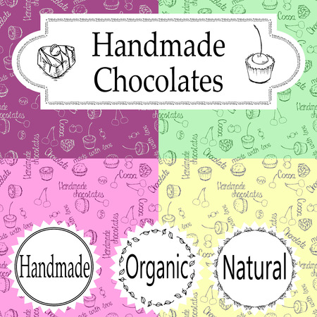 handmade: Vector handmade chocolates packaging templates and design elements for candy shop - cardboard with emblems Illustration