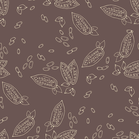 cocoa fruit: Seamless texture with cocoa fruits and cocoa leaves. Cocoa fruit on a brown background. Pattern for packaging cocoa and chocolate. Cocoa beans in vintage style.