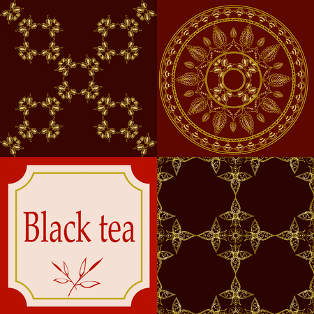 assam tea: Vector set of design elements and icons in trendy linear style for tea package - assam, indian and black tea.