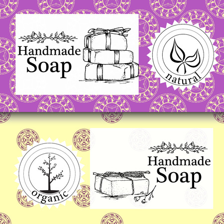 handmade soap: Vector set of seamless patterns, labels Illustration