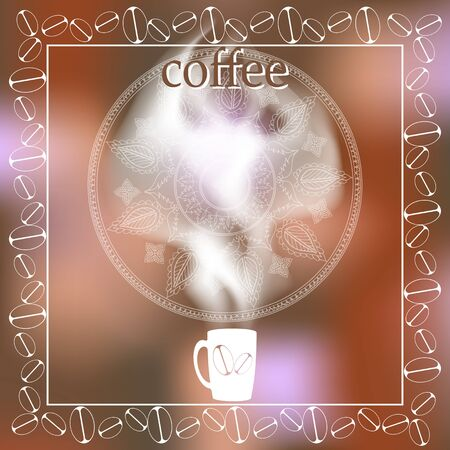 steam of a leaf: cup of coffee with steam on a blurred background. menu. space for text. Illustration