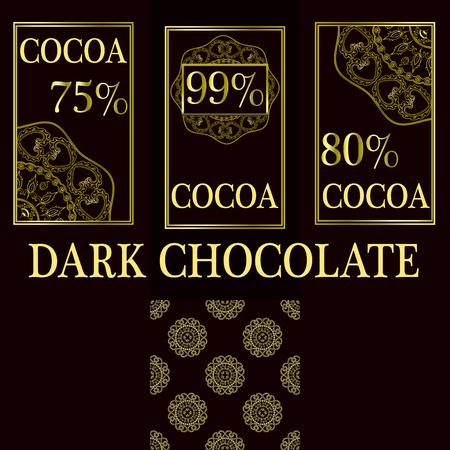 Vector set of design elements and seamless pattern for dark chocolate and cocoa packaging - labels and background. Percentage of cocoa in chocolate. Illustration