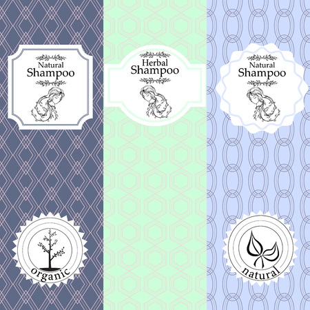 beauty products: set of seamless patterns, labels and design templates for natural herbal shampoo packaging and wrapping paper.