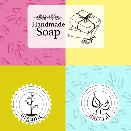 handmade soap: set of seamless patterns, labels and icon design templates for hand made soap packaging and wrapping paper.