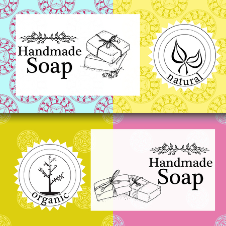 handmade soap: set of seamless patterns, labels and design templates for hand made soap packaging and wrapping paper. Illustration