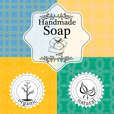 Vector set of seamless patterns, labels and design templates for hand made soap packaging and wrapping paper.