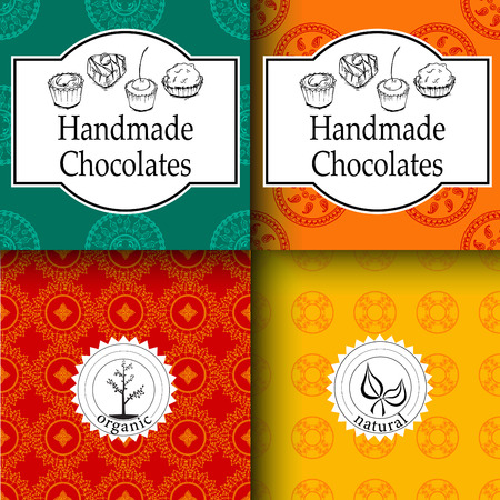 package: Vector handmade chocolates packaging templates and design elements for candy shop - cardboard with emblems and seamless patterns.