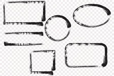 Marco de la mano del grunge dibujado con el espacio para el texto. Manchas de tinta.