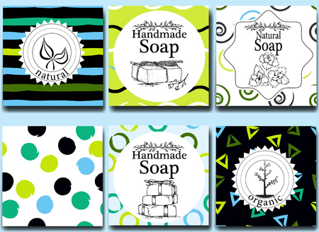 handmade soap: Vector set of seamless patterns, labels and design templates for handmade natural soap packaging and wrapping paper.