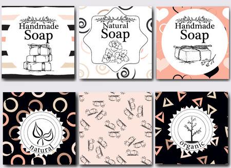 Vector set of seamless patterns, labels and design templates for handmade natural soap packaging and wrapping paper.