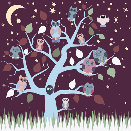 trees illustration: Retro Cute Owl, night owls sitting on branches of a tree