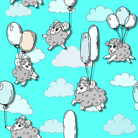 bleating: Seamless pattern with cute lams flying on balloons in the clouds.