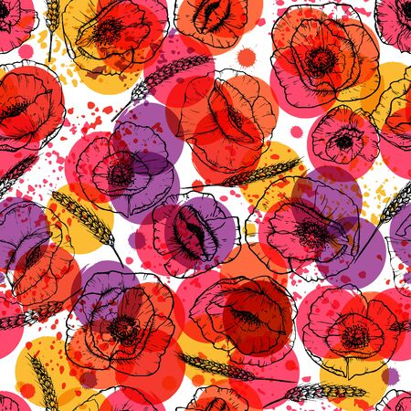 poppies: Seamless modern floral pattern with poppies and wheat ears, spots, blots and splashes of paint.