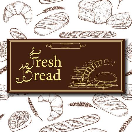 rolling bag: Vector design for bakery or baking shop with hand drawn bread illustration. Vintage bakery sketch background. Seamless pattern. Illustration