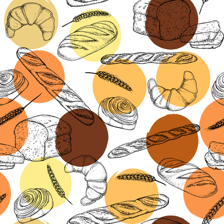 rye bread: Bread, seamless pattern with bakery products, french baguette, croissant and bun. Illustration