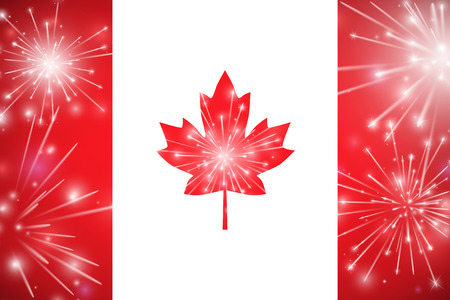 Happy Canada Day card. Canada flag, fireworks, red maple leaf. Vector illustration.