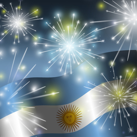 argentina flag: Flag of Argentina. Independence Day. Yellow-blue fireworks. Illustration