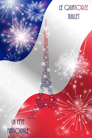 fourteenth: Vector illustration, card, banner or poster for the French National Day, Bastille Day. The inscription in French, English translation July Fourteenth, National Day.