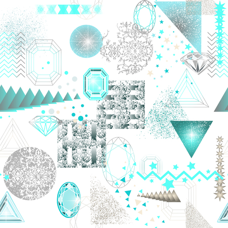 jewerly: Trendy modern seamless pattern with abstract geometric shapes, crystals, diamonds and ornaments. Endless texture in vintage style. Abstract design poster, cover, card design. Illustration