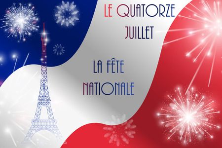 bastille: Vector illustration, card, banner or poster for the French National Day, Bastille Day. The inscription in French, English translation July Fourteenth, National Day.