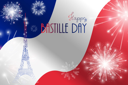 bastille: Vector illustration, card, banner or poster for the French National Day, Bastille Day, Fourteenth of July. Illustration