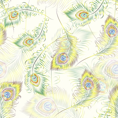 peafowl: Beautiful vector peacock feathers seamless pattern.