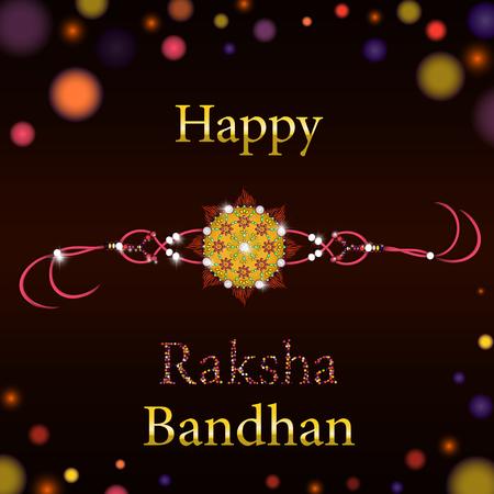 rakhi: Beautiful creative rakhi on shiny background for Indian festival of brother and sister love, Happy Raksha Bandhan celebration.