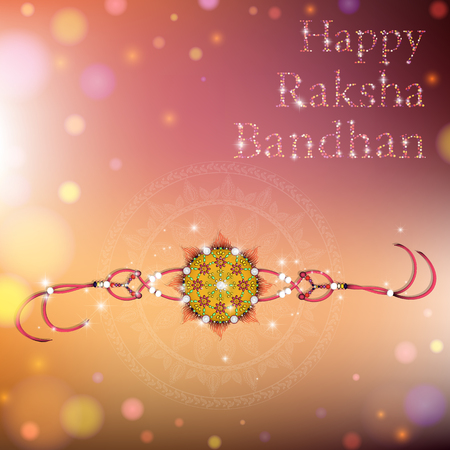 auspicious occasions: Beautiful creative rakhi on shiny background for Indian festival of brother and sister love, Happy Raksha Bandhan celebration.