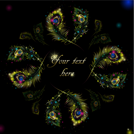 peafowl: Beautiful vector peacock feathers on retro background with space for text. Illustration