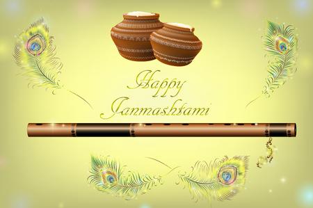 Vector illustration festival of Happy Krishna Janmashtami. Illustration