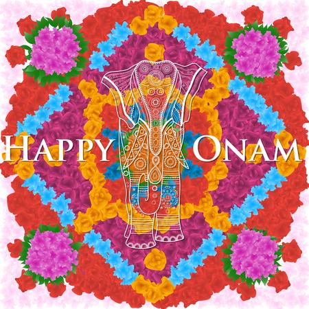 pookolam: Beautifully decorated elephant on flower background for South Indian festival, Happy Onam celebration.