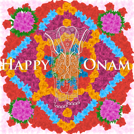 Beautifully decorated elephant on flower background for South Indian festival, Happy Onam celebration.