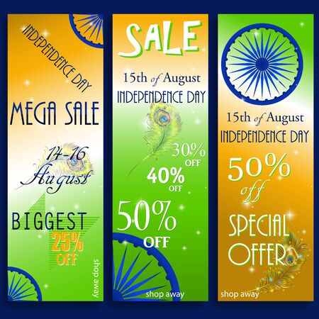 indian professional: Mega Sale with special discount offer, Website header or banner set decorated with shiny Ashoka wheel and national flag color stripes for Indian Independence Day celebration.