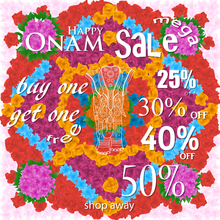 malayalam: easy to edit vector illustration of decorated elephant for Happy Onam