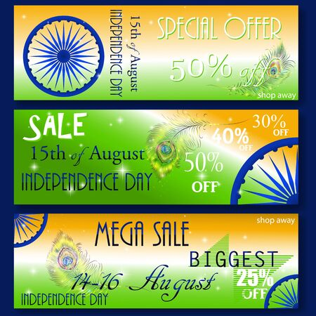 15: Mega Sale with special discount offer, Website header or banner set decorated with shiny Ashoka wheel and national flag color stripes for Indian Independence Day celebration.