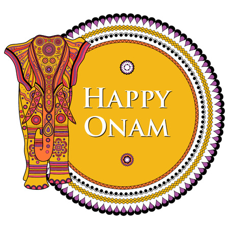 sravanmahotsav: easy to edit vector illustration of decorated elephant for Happy Onam