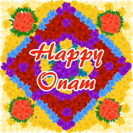 Beautifully decorated flower background for South Indian festival, Happy Onam celebration. Illustration